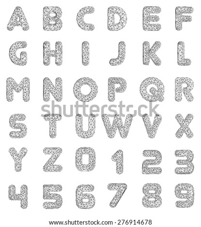 Vector Lowpoly Font leters and numbers. Vector illustration. - stock vector