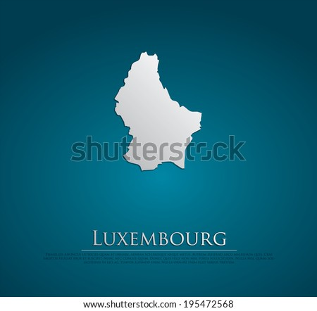 vector Luxembourg Map card paper on blue background, high detailed - stock vector