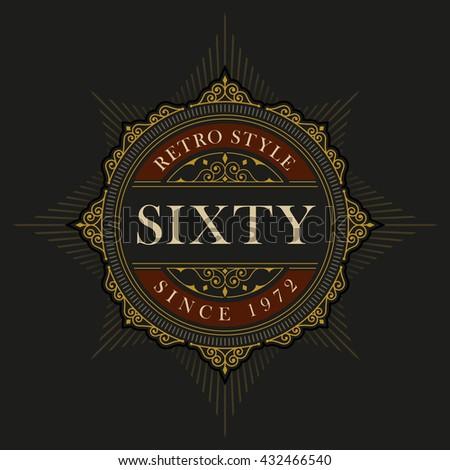 Vector luxury elegant frame ornament line logo design. Monogram emblem template. Ideal for restaurant, hotel, jewelry, boutique, cafe, heraldic,  fashion or royal sign. - stock vector