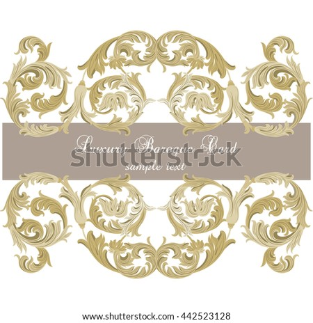 Vector Luxury Gold ornament card. Vector Ornamental frame. Elegant Rich Style border frame engraved with Rococo ornament. Decorative frame border cover. Serenity color ornament - stock vector