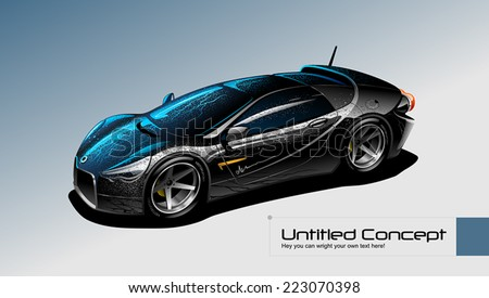 Vector luxury sports car. Original design. - stock vector