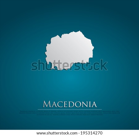 vector Macedonia Map card paper on blue background, high detailed - stock vector