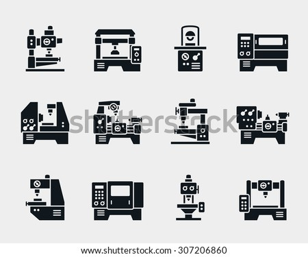 Vector machine tool icons set. Work and factory, production industrial technology, equipment construction illustration - stock vector