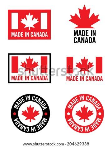 Vector 'Made in Canada' logo set - stock vector
