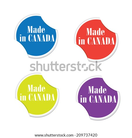Vector made in canada round stickers