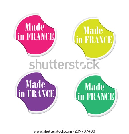 Vector - Made in France. Round stickers  - stock vector