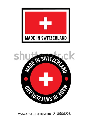Vector Made in Switzerland Flag and Icon Set - stock vector