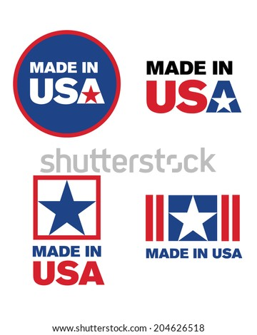 Vector 'Made in the USA' icon and logo set - stock vector