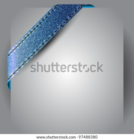 Vector made of jean fabric corner ribbon - stock vector
