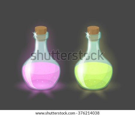 Vector magic bottles with pink and green drinks, eps10  - stock vector