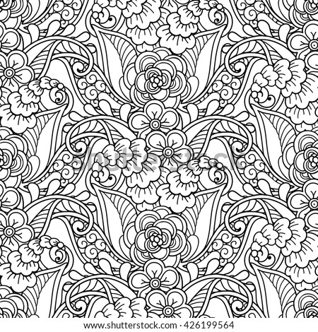 Vector magic fairy forest garden seamless pattern background in doodle style.Flowers, seedpods,  leaves, ornamental design elements. Black and white background. Zentangle coloring book page - stock vector
