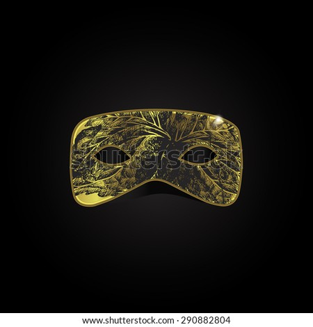 Vector magic gold mask with black pattern