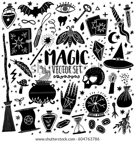 Vector Magic Icons Hand Drawn Doodle Stock Vector Royalty Free