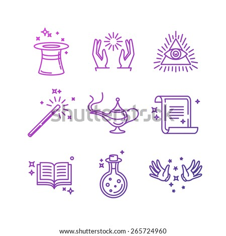 Vector magic related linear icons and signs - tricks and magician's objects - stock vector