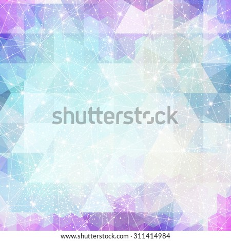 Vector magic space constellation with stars and lights on a background of the triangles - stock vector