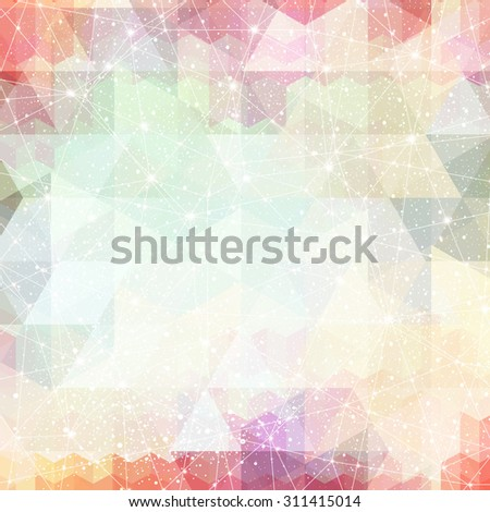 Vector magic space constellation with stars and lights on a red, pink background of the triangles - stock vector