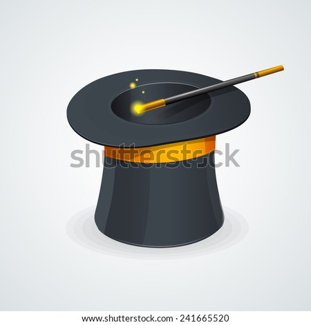 Vector magic wand and cylinder hat isolated - stock vector