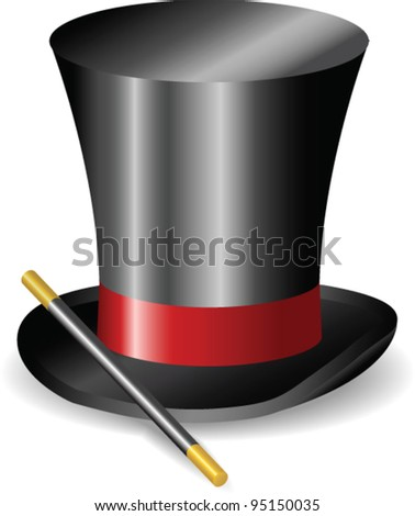 Vector - Magic wand and Hat - stock vector