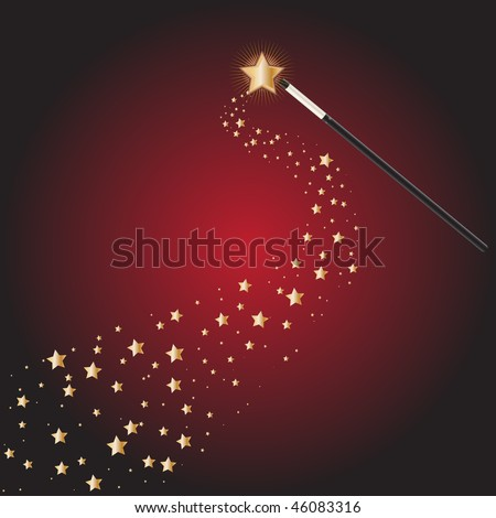 Vector - Magic wand at a magical performance with star trails - stock vector