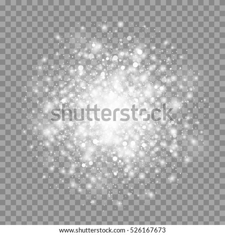 Vector magic white glow light effect isolated on transparent background. Christmas design element. Star burst with sparkles.