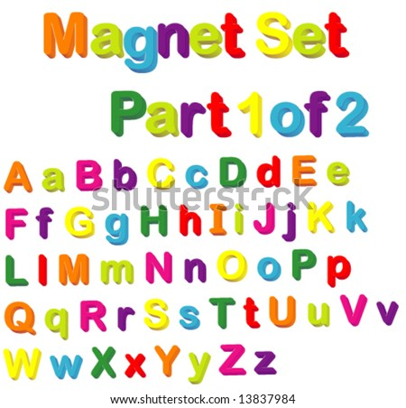 Vector Magnets Set (Part 1 of 2) - Alphabet in Small & Capital Letters