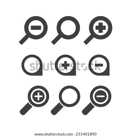 Vector magnifier glass and zoom Icons search lupe - stock vector