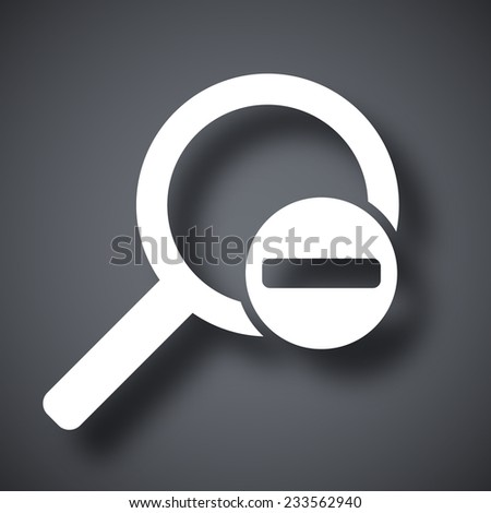 Vector magnifier icon with minus sign - stock vector