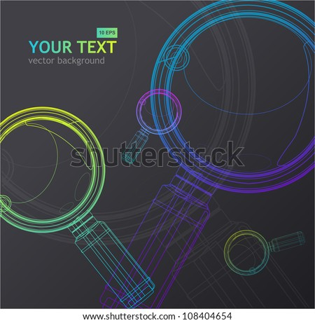 Vector magnifying glass background - stock vector