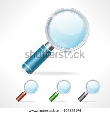 Vector magnifying glass icons - stock vector