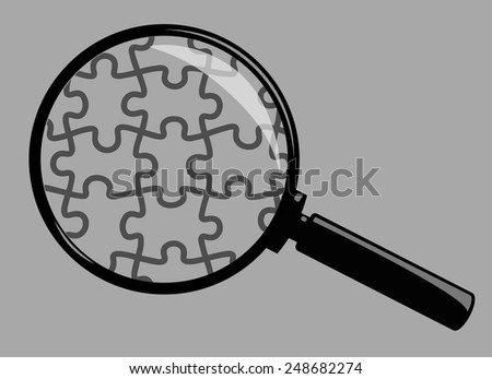 Vector Magnifying Glass Isolated on Grey Background - stock vector