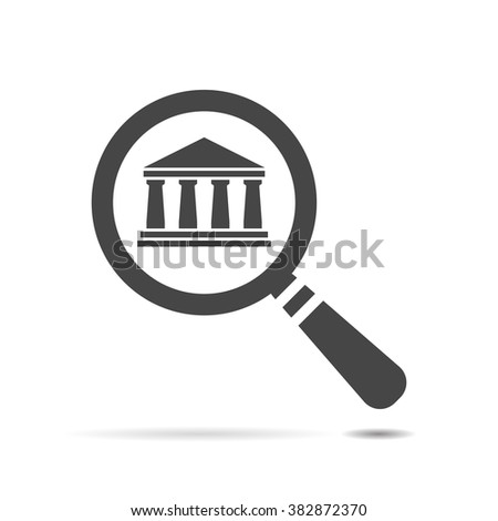 vector magnifying glass with bank icon on a white background - stock vector
