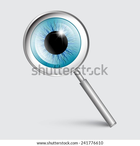 Vector Magnifying Glass with Blue Eye - stock vector
