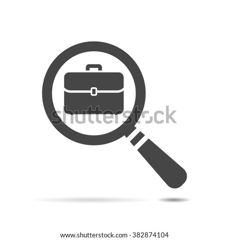 vector magnifying glass with flat portfolio briefcase icon - stock vector