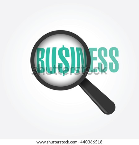 Vector magnifying glass with word: Business