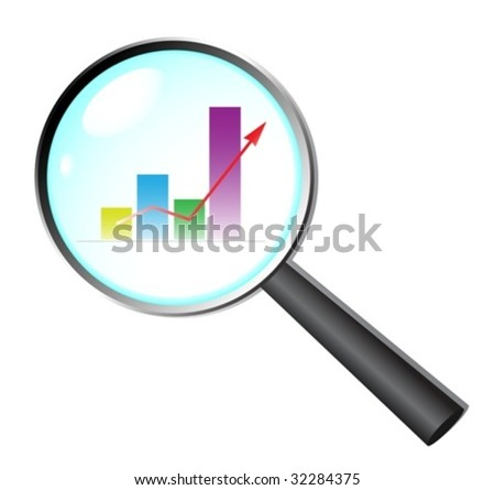 Vector magnifying glass zoom on a business chart. For jpeg please see my port - stock vector