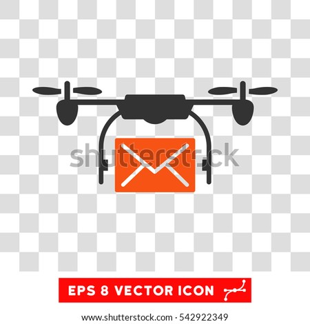 Vector Mail Delivery Drone EPS Pictograph Illustration Style Is Flat Iconic Bicolor Orange And