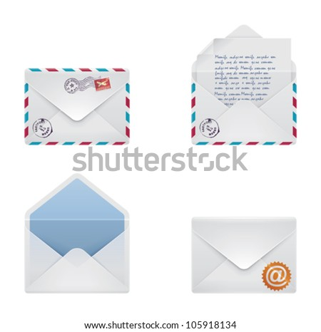 Vector mail envelope and letter icon set - stock vector