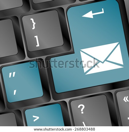 vector Mail keyboard button on blue keyboard - stock vector