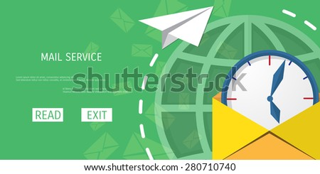 Vector mail service web flat background. Global communication. Social network. Concepts for web banners and promotional materials. - stock vector