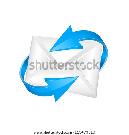 vector mail with blue circular arrows. e-mail  concept. - stock vector