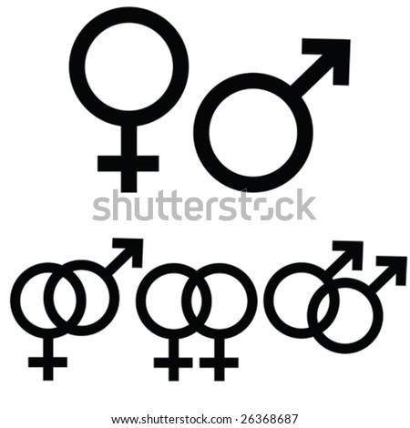 Vector male and female icon signs presented separately, as well as together to symbolize  different types of relationship