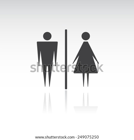 Vector Male and Female Icon with Shadow - stock vector