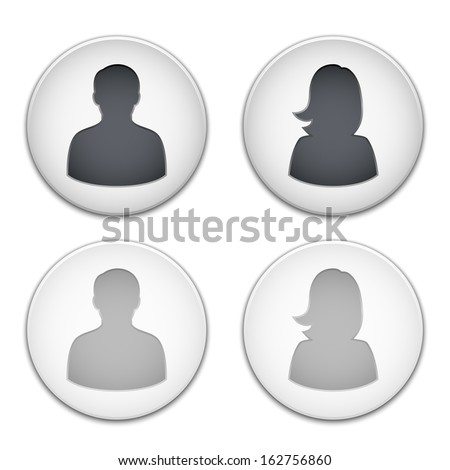 Vector male and female user icons - stock vector