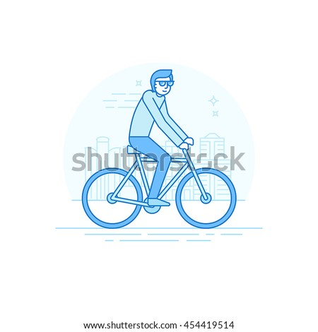 Vector male character in flat linear style - man riding bicycle- illustration in simple trendy style