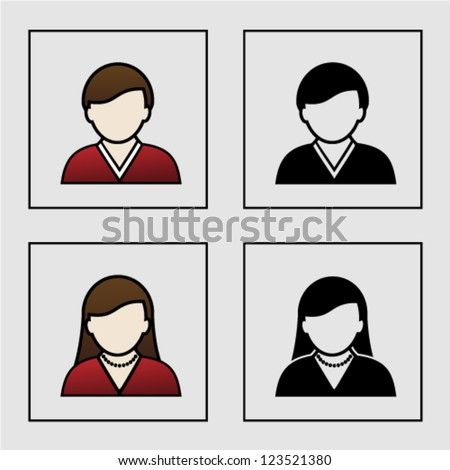 Vector male female avatar icons - user, member