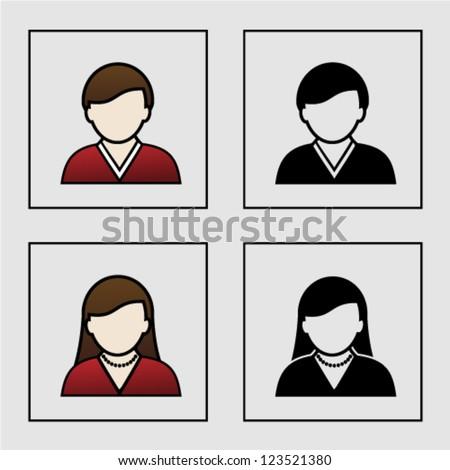 Vector male female avatar icons - user, member - stock vector