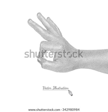 Vector male hand in style black engraving shows sign OK. Isolated on white  - stock vector