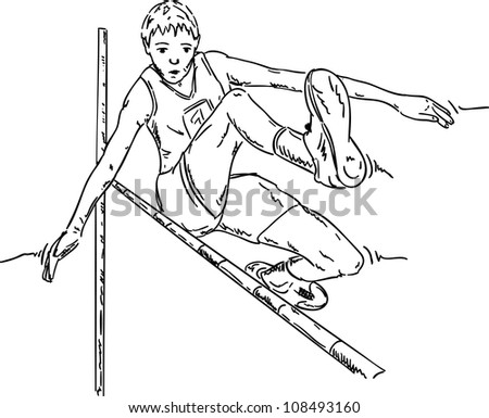 vector - male high jumper in action , isolated on background