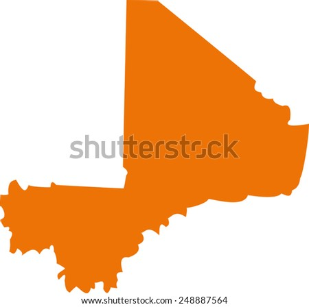Vector Mali map on Africa - stock vector
