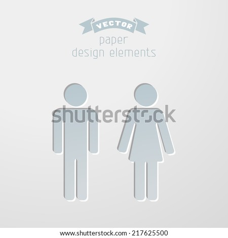Vector man and woman icons. Paper design elements. Pictograms for your design. Toilet signs in minimal style. - stock vector